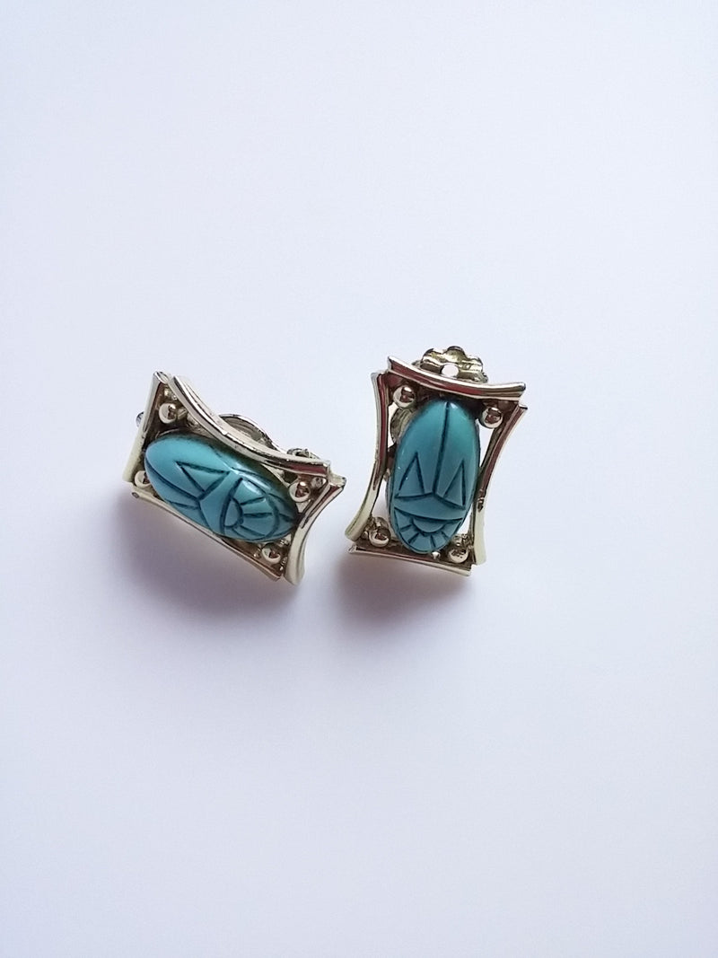 Vintage Judy Lee Egyptian Queen Aqua Turquoise Scarab Earrings