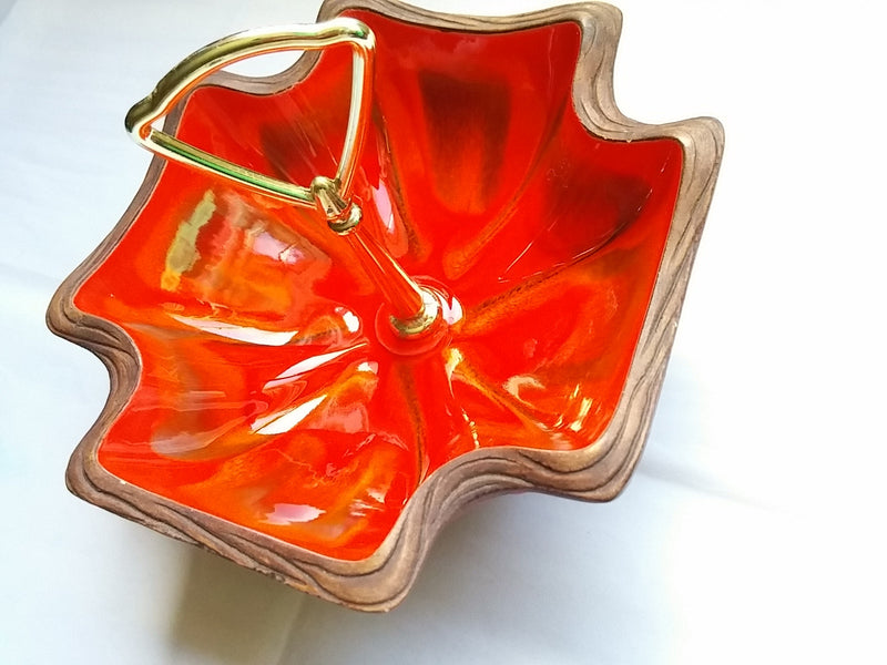 Vintage California Pottery  Serving Dish Faux Wood and Ceramic Glaze Pottery Gold Handle Snack Dish