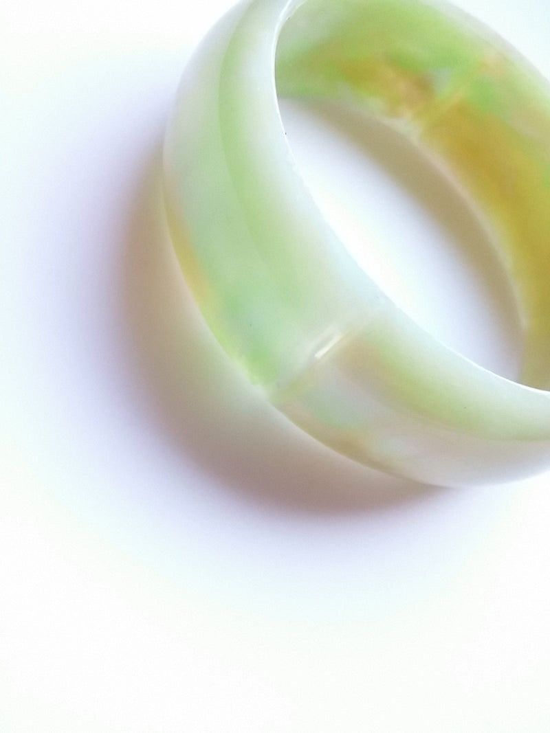 Green Tan Marble Plastic Bangle