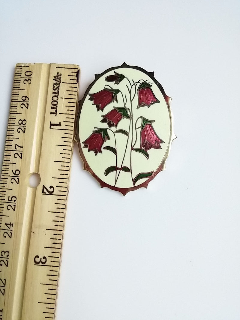 Vintage Cloisonne Brooch Oval Cream w/ Pink Bell Flowers