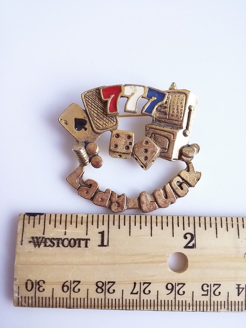 Lady Luck Brooch - Gambling Pin Lucky 7 Gold Tone Novelty Jewelry