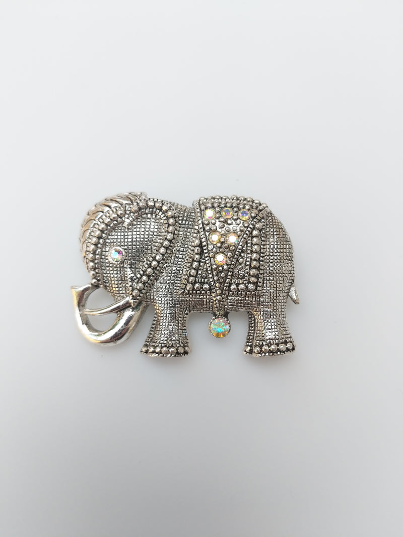 Aura Borealis Accented Elephant Brooch
