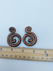 Bronze Colored Snake 'S' Earrings