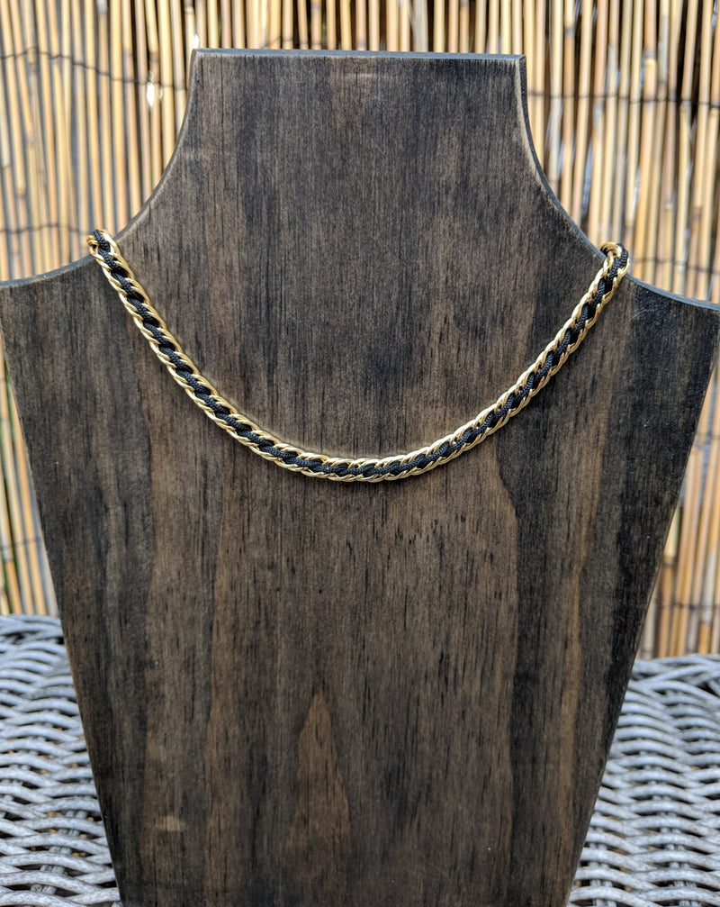 Vintage 80s Trifari Necklace Gold Tone Chain w/ Black Cord