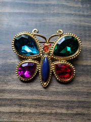 Vintage Brooch- Large Gold Tone Butterfly w/ Jewel Colored Plastic Accent