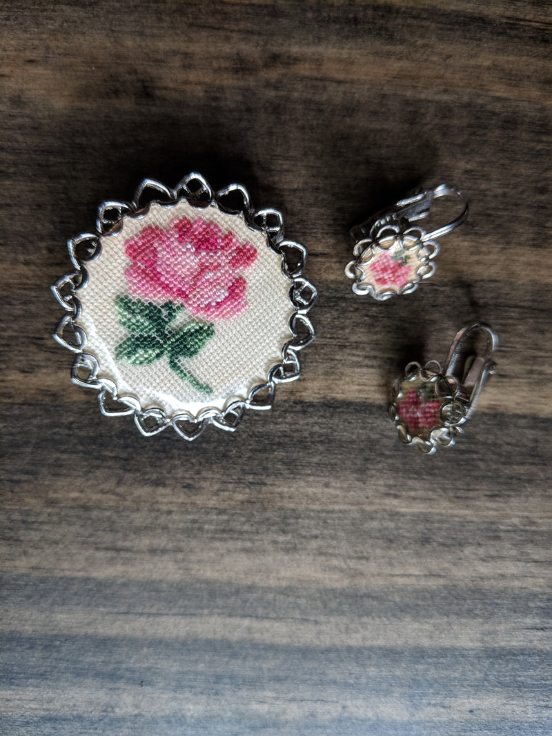 Vintage Needlepoint Tapestry Rose Flower Brooch Pin Pendant Clip Earrings Set