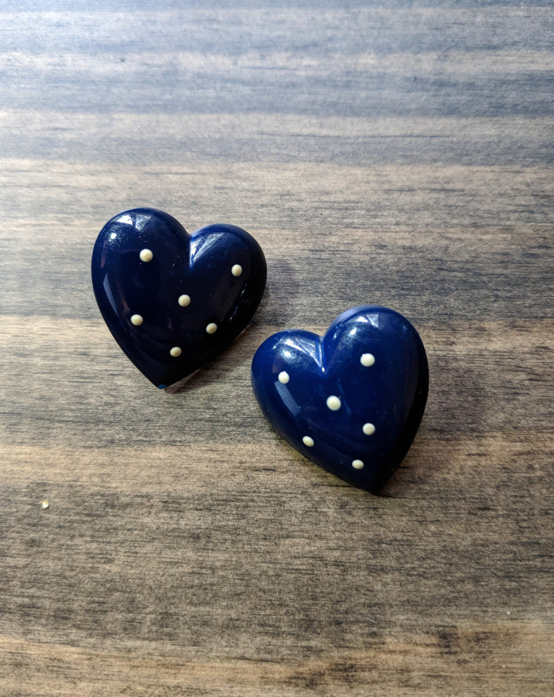 80's Heartastic Polka Dot Earrings