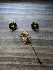 Vintage Christmas Set Wreath Brooch / Lapel Pin and Clip Earrings Holiday