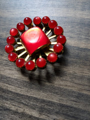 Vintage Brooch - Red Moonglow Starburst