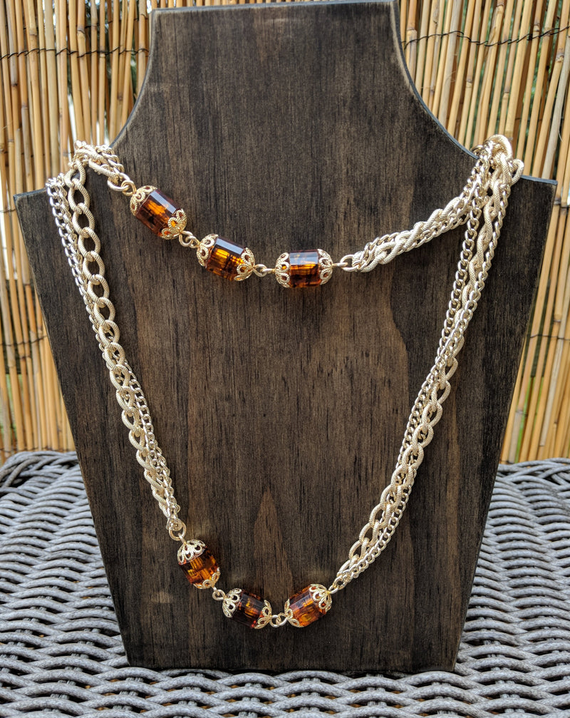 "Vintage Necklace ""Golden Lanterns"" by  Sarah Coventry Root Beer Beads"
