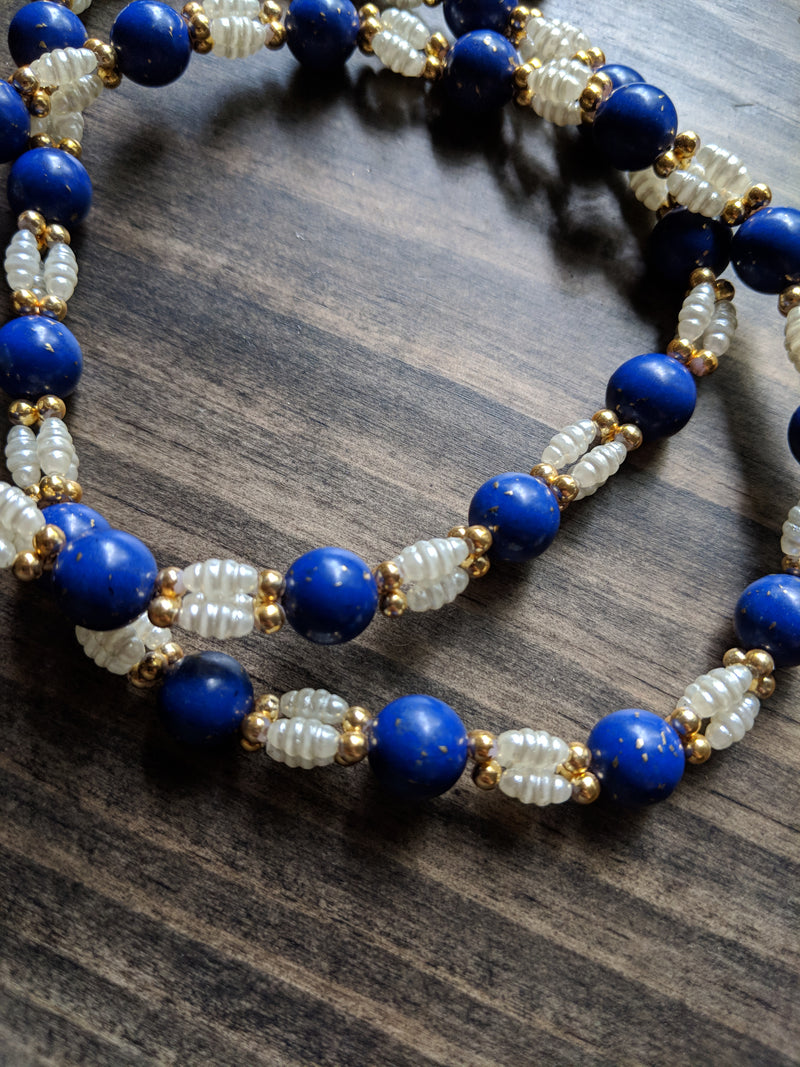 Vintage 50s 60s Necklace Fresh Water Pearl and Blue Beads w/ Gold Flecks
