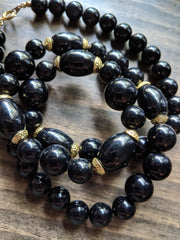 Vintage Black and Gold Beaded