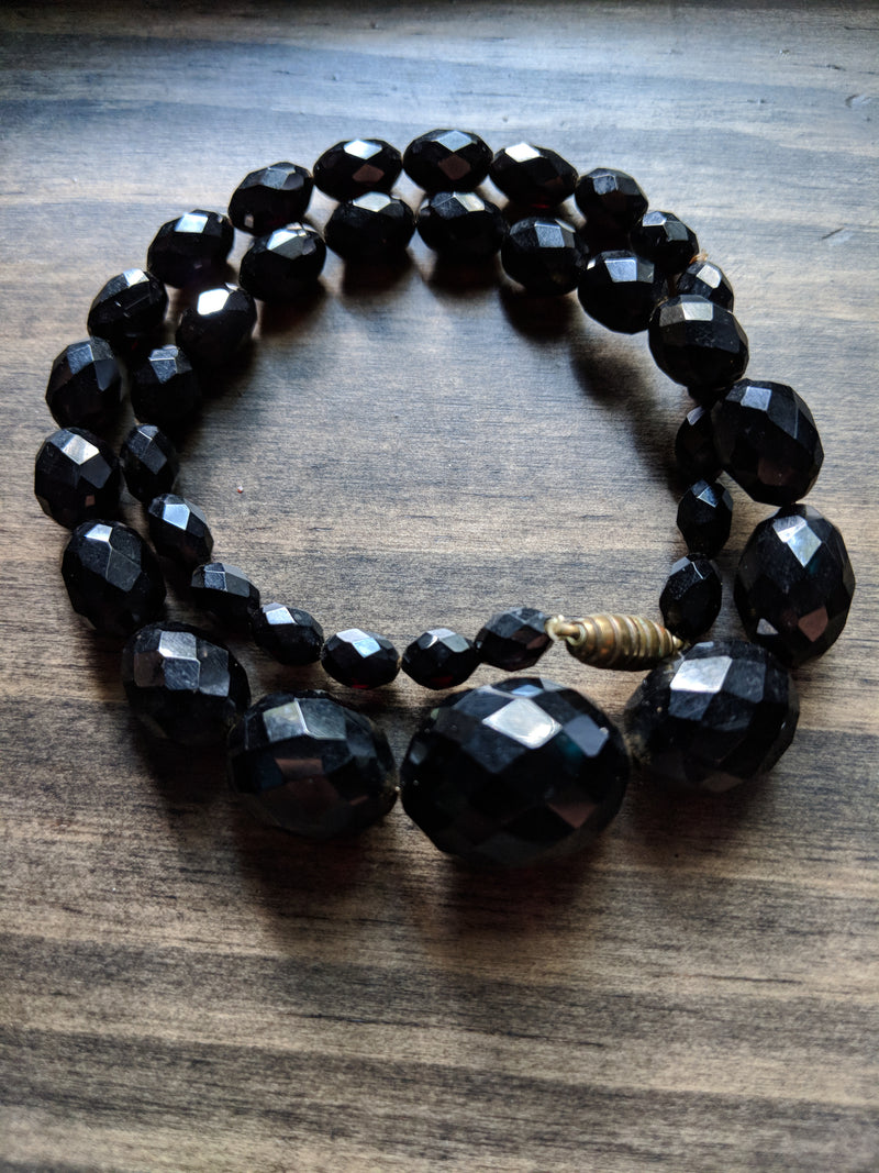 "Vintage Black Beaded 16"" Necklace"