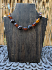 Vintage Choker - Warm Fall Neutral Colors of Brown and Amber