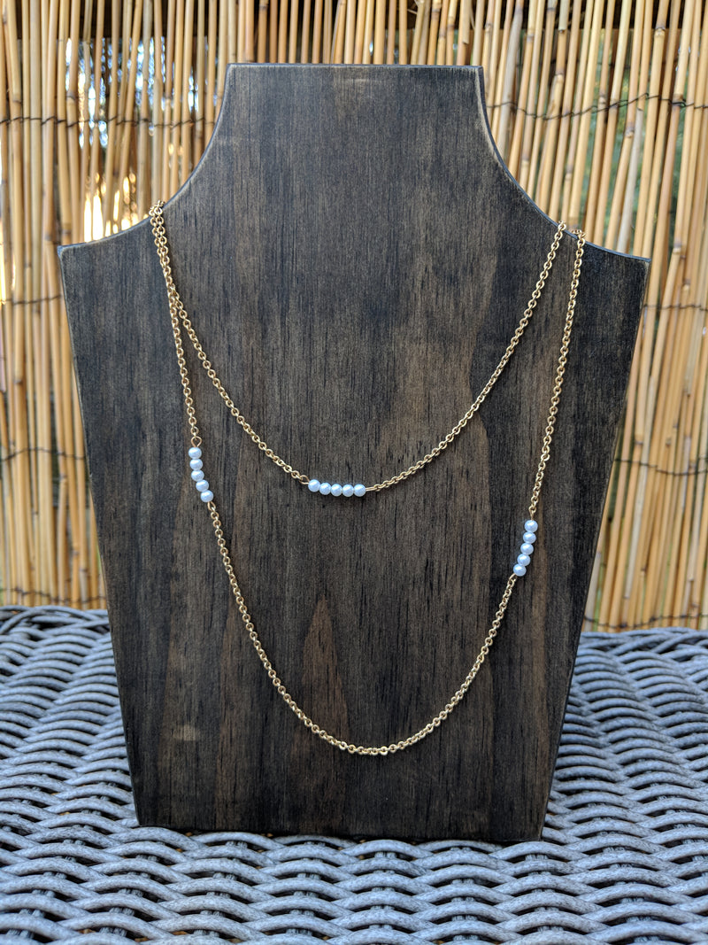 "Vintage Gold Tone 40"" Necklace w/ Faux Pearl Bar Stations"