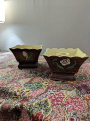 Vintage Brayton Laguna Brown Ceramic Pottery Candlestick Holders