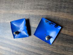 Vintage 1980s Blue & Black Square Earrings w Stars