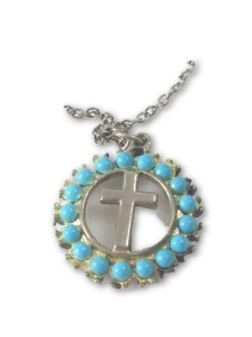 Cross Pendent Necklace- With Circle of Turquoise Colored Beads w/ Chain