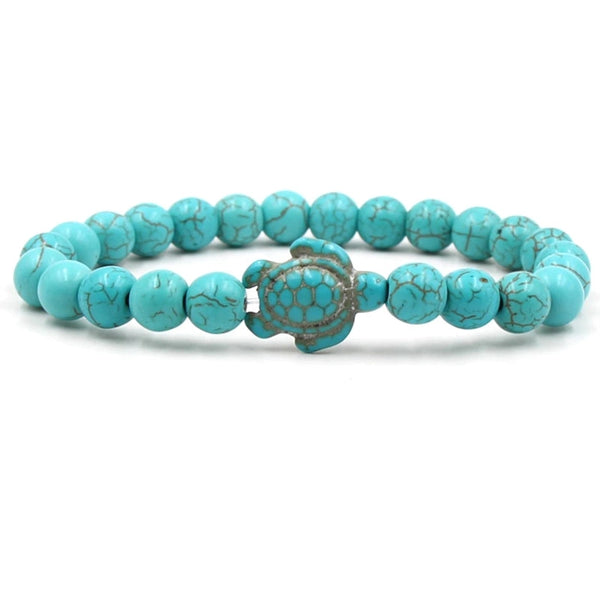 Natural Stone Sea Turtle Beach Bracelet