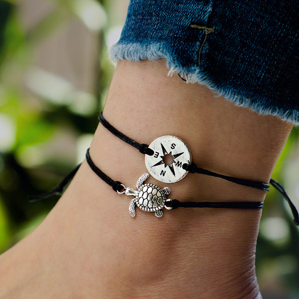 Sea Turtle and Compass Rope Anklet Set