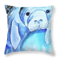 Miles Manatee Throw Pillow