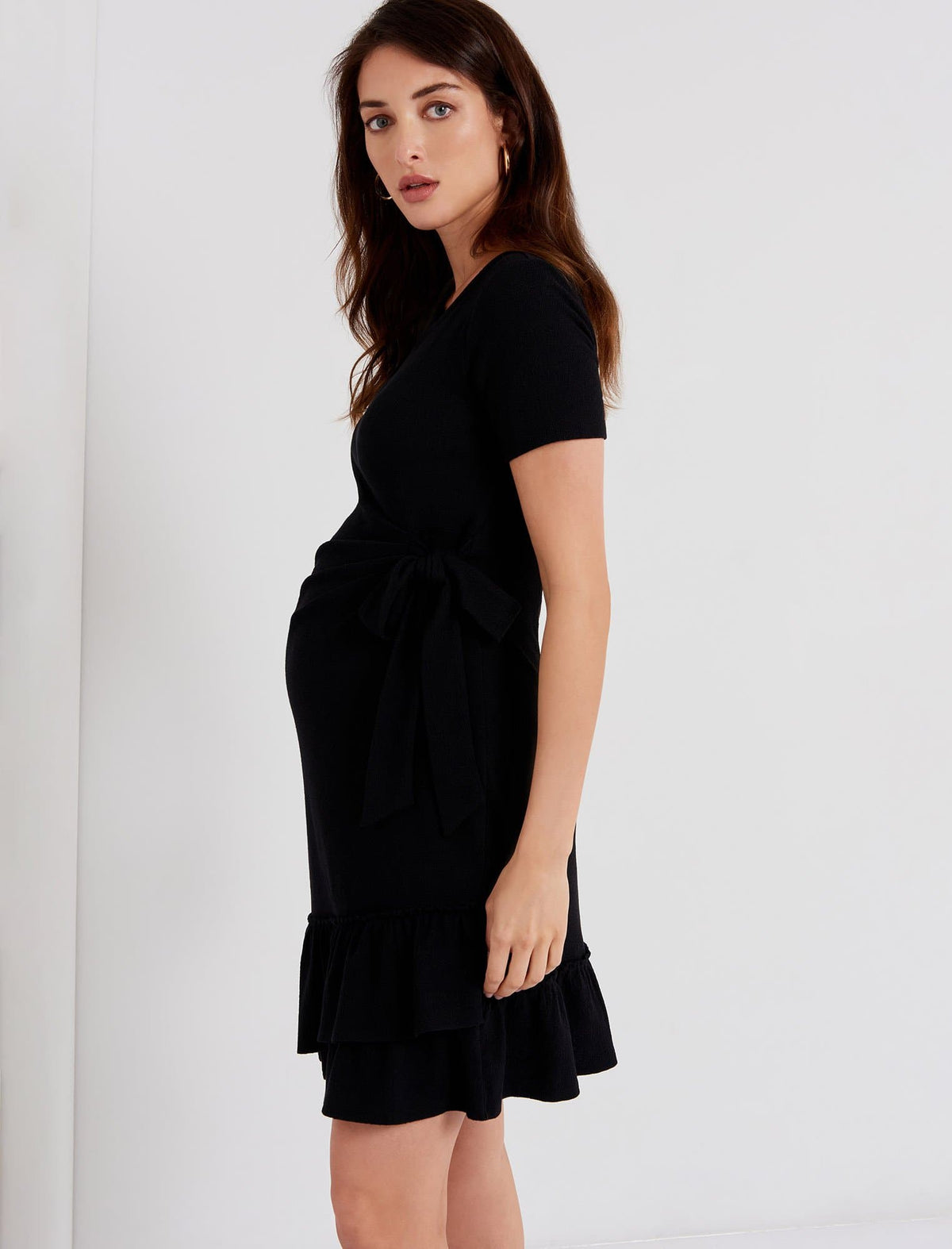 A Pea in the Pod Red Ruffle Front Hem Side Tie Maternity Dress Short Sleeve S,L