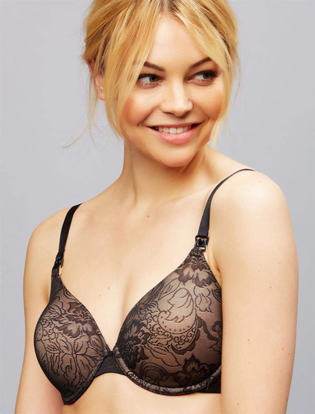 Natori Private Luxuries Full Coverage Lace Nursing Bra  Black