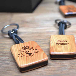 'Sandwich' Keyfob (yew and  African blackwood) – fully customised on both sides