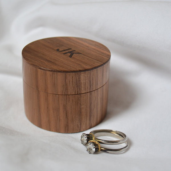 Mini Jewellery Box in walnut with inlaid rosewood initials
