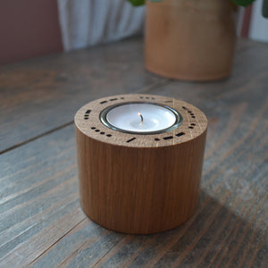 Oak Candle Holder with your own secret Morse Code message