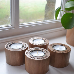 Oak Candle Holder with your message engraved around the top