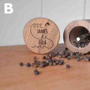Salt & Pepper Mill - engraved with coastal graphic and your own design on the top