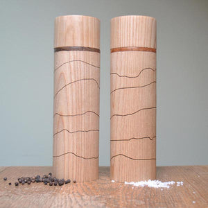 Salt & Pepper Mill - engraved with Lake District Fells graphic and your own design on the top