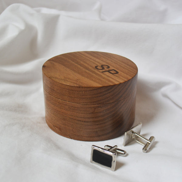 Round Valuables Box in elm with inlaid rosewood initials  - BLACK FRIDAY WEEKEND SPECIAL OFFER - BUY ONE GET ONE FREE