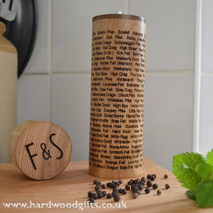 Salt & Pepper Mill - engraved with the Wainwright Fells and your own design on the top