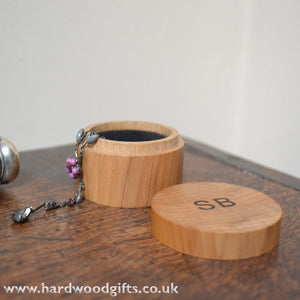 Mini Jewellery Box in yew with inlaid rosewood initials