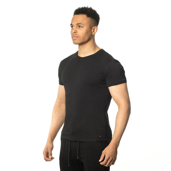WeekendGent Slim stretch crew tshirt black