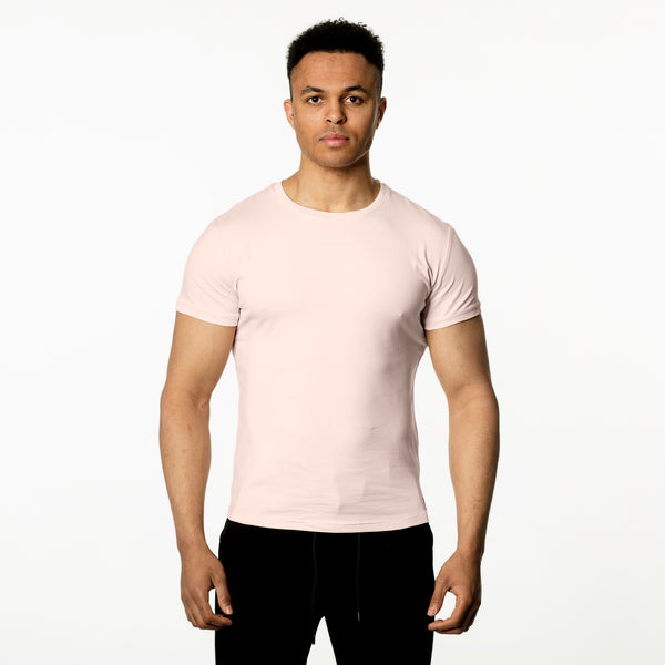 WeekendGent Slim stretch crew tshirt pink