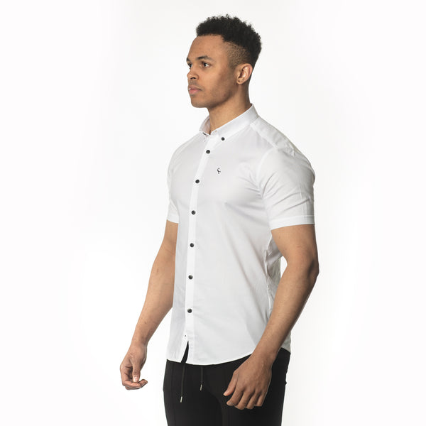 WeekendGent Slim stretch BD shirt short sleeved white