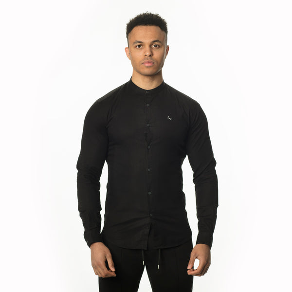 WeekendGent Slim stretch granddad collar shirt black