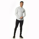 WeekendGent Slim stretch granddad collar shirt silver grey