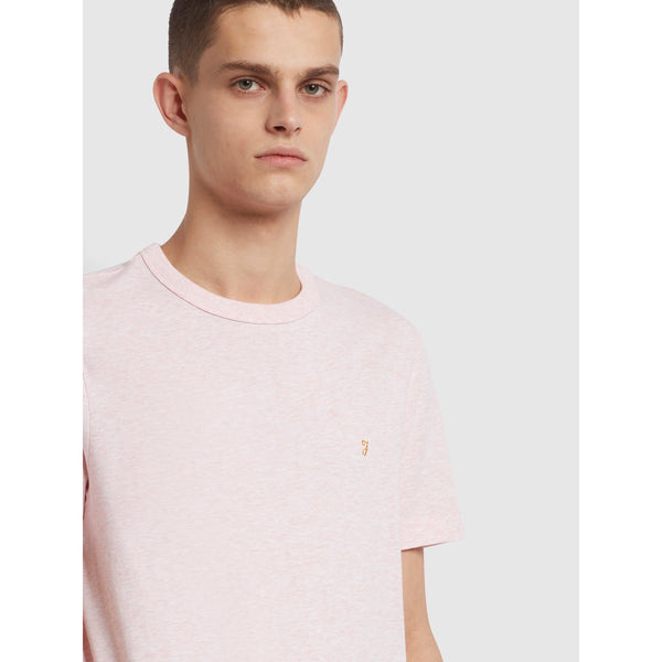 Farah Danny Slim Fit Organic Cotton T-Shirt Clyde Pink Marl