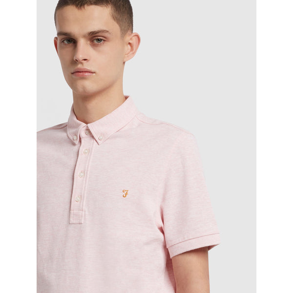 Farah Ricky Slim Fit Organic Cotton Polo Shirt Clyde Pink Marl