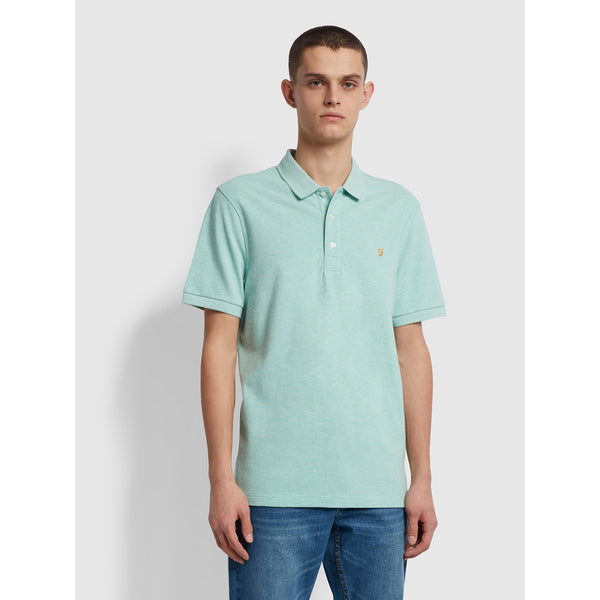 Farah Blanes Slim Fit Organic Cotton Polo Shirt Green Crest Marl