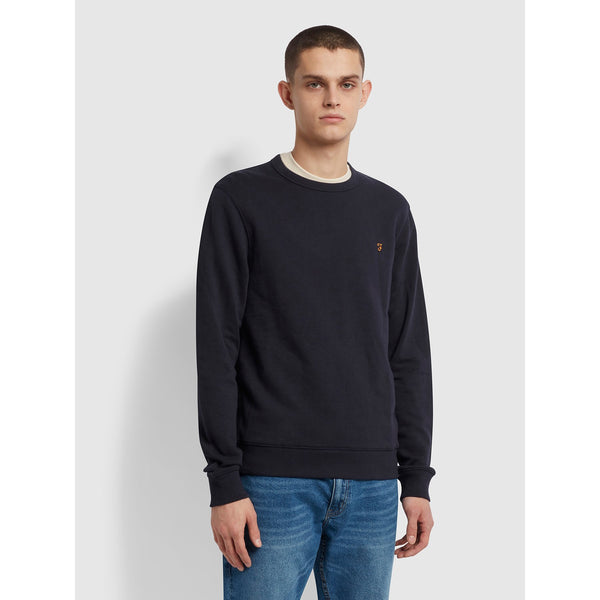 Farah Tim Organic Cotton Crew Neck Sweatshirt True Navy