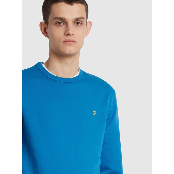 Farah Tim Organic Cotton Crew Neck Sweatshirt Maritime Blue