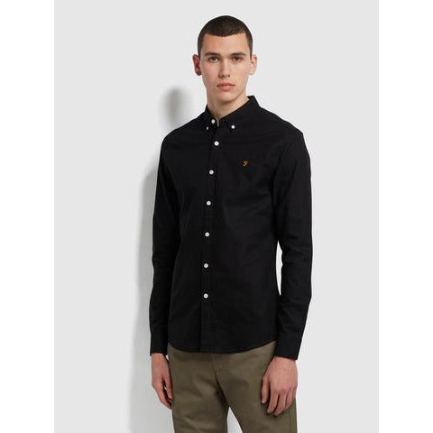 Farah Brewer Slim BD Shirt Black at TailorOfBlue.ie
