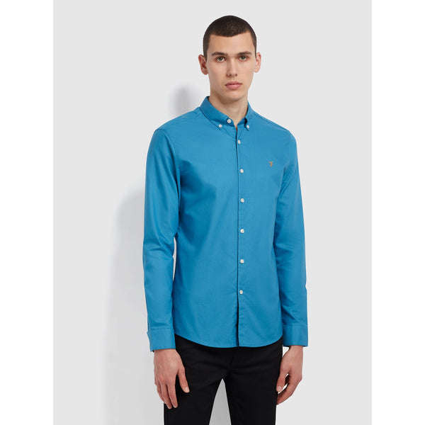 Farah Brewer Slim Fit Organic Cotton Oxford Shirt Maritime Blue