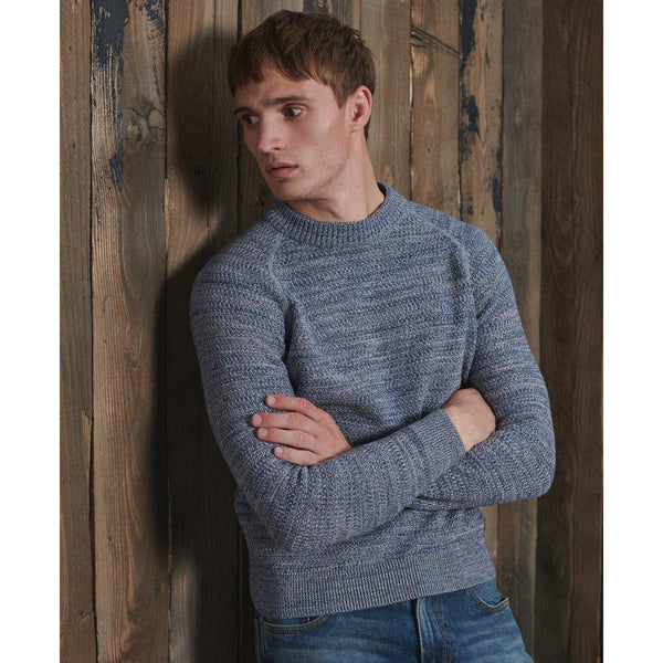 Superdry Keystone Crew Knitted Top Shore Blue Twist at TailorOfBlue.ie