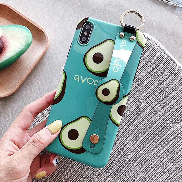 Coque iphone avocado bleu avec support face